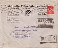 GUERRE 39-45 - INADMIS - RETOUR A L'ENVOYEUR - LETTRE DE PARIS LE 13-12-1940