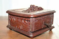 ANTIQUE LATE 19th CENTURY WALNUT WOOD HAND CARVED BLACK FOREST SWISS JEWELRY BOX