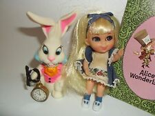 Liddle Kiddle Storybook Alice in Wonder-Liddle DOLL,RABBIT, WATCH CLOCK,BOOKLET