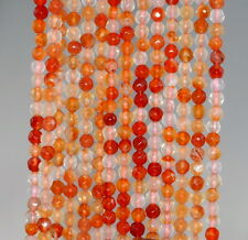 4MM  AGATE GEMSTONE ORANGE RED FACETED ROUND LOOSE BEADS 15""