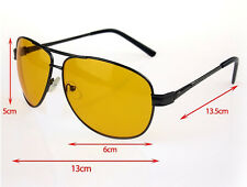 Unisex (Mens / Womens) Aviator Style Night Driving Glasses with Black Frames