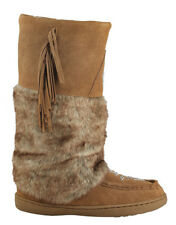 BRAND NEW WOMENS CHESTNUT MUKLUK BOOTS, REAL LEATHER SUEDE - SIZE 8