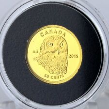 Canada 2015 50-cents Snowy Owl 1/25 oz. Pure Gold Proof Coin 99.99% Pure Gold