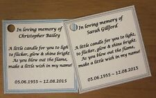 FUNERAL CANDLES, REMEMBRANCE CANDLES, MEMORIAL CANDLES - PERSONALISED FAVOURS