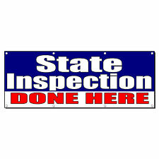 STATE INSPECTION DONE HERE Promotion Business Sign Banner 2' x 4' w/ 4 Grommets