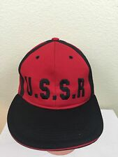 U.S.S.R. USSR Victorious 23 Fitted Cap Hat Red and Black XL