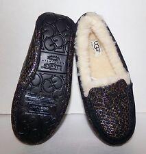 UGG Australia Ansley Glitter Black Leopard Print Women's Moccasin Slippers 6 NEW