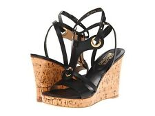 $575 NEW Salvatore Ferragamo Stefy US 9 Wedge Heel Sandals Black Leather Shoes