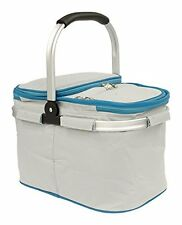 Collapsible Insulated Picnic Basket set for 2 with Plates, and Cutlery Set