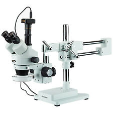 3.5X-180X Trinocular Stereo Microscope with 144-LED Ring Light and 3MP Camera