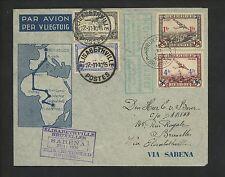 Postal History Belgium Scott #C6+C7 Airmail Flight Sabena 1935 Brussels to Congo