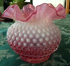 """BEAUTIFUL CONDITION CRANBERRY HOBNAIL VASE RUFFLED EDGE 5 1/4""""H x 5 1/2""""W"""