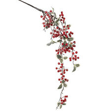 """RAZ Imports~14"""" Iced Holly/Berry Spray~Floral Pick/Branch/Stem/Swag/Tree/Wreath"""