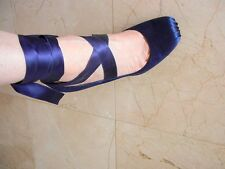 CHANEL Shoe Ankle Wrap Square Ballet Toe Satin Stiletto Heel 40 /10