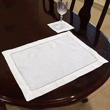 """6 Pack - White Hemstitched Placemats - 14"""" x 20"""" - 55/45 Linen Cotton Blend"""