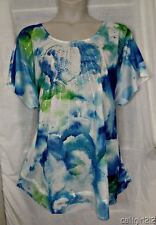 Avenue $55 Watercolor Floral Blues Greens Rhinestones LONGER Top 5X 30/32 NWT