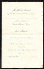 Dated 1933 Wedding Invite Elaine Thorn & Eric Mitchell, St. George's Church