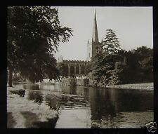Glass Magic Lantern Slide STRATFORD UPON AVON CHURCH FROM RIVER C1920