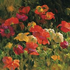 ICELAND POPPIES LEON ROULETTE ART PRINT 30x30 flowers large bright floral poster
