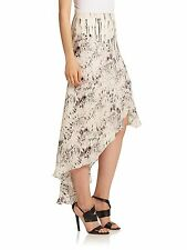 NWT $435 HAUTE HIPPIE Hi Lo Ruffle Feather Print Silk Maxi Skirt - Sz 4 (S)