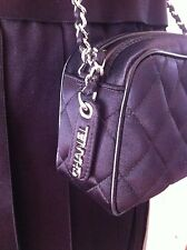 Gorgeous CHANEL mini quilted black satin silvertone hardware messenger bag