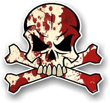 SKULL & CROSSBONES Design & Zombie Blood Splatter Horror Motif car sticker decal