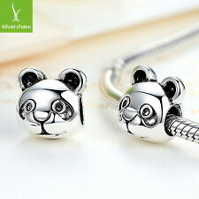 2016 Cute Panda Pattern Animal Silver Charms Beads Fit European DIY Snake Chain