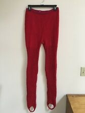 Women's Hand Knit Thick Wool Leggings Ankle Strap M ? Red Pink