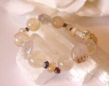 Archangel Jophiel Ascension CHUNKY Bracelet Cacoxenite Herkimer Opal Danburite
