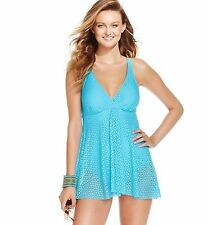 Swim Solutions Azure Crochet Flyaway Swimdress One Piece Swimsuit 10 NWT NEW