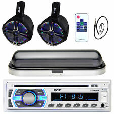 "Dual Marine LED 6.5"" Wake Board Speakers, Bluetooth USB Radio, Antenna, Cover"