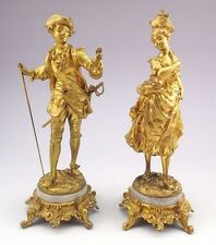 Antique Ernest Rancoulet France 1870-1915 Pair Sculptupes Gilded Bronzes Signed