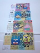 SPONGEBOB Set di 4 banconote Novità Set-REGALO DI NATALE IDEA