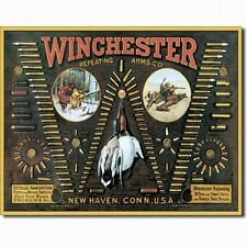 Vintage Tin Sign Winchester Repeating Arms Co. Firearms Bullet Board Gun Rifle