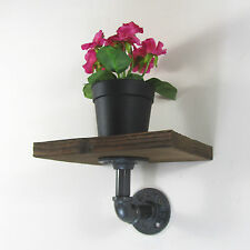 INDUSTRIAL RETRO RUSTIC URBAN WOOD AND IRON PIPE SHELF WALL MOUNT SHELVING