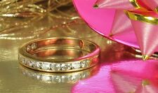FAB 1940s 14K Yellow GOLD WEDDING Band Ring~13 Channel Set DIAMONDS~0.78ct~6-1/4