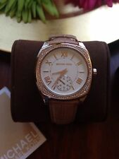NWT Authentic Michael Kors Bryn White Dial Nude Leather Ladies Watch 2388