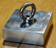 N50 Large Square Block Neodymium Magnets 75x75x25mm Lifting 10mm hole With Hook