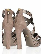TORY BURCH VENICE TAUPE/GRAY SNAKE SKIN/SUEDE SANDALS HEELS SIZE 9 $425 new