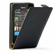 Ultra Slim BLACK Leather case cover for Nokia Asha 501 Dual SIM / RM-902