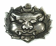 Antique Estate Sterling Silver Chinese Dragon Face Repousse Pin c1900
