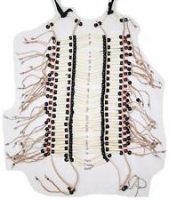 INDIAN STYLE LG BURGUNDY BEADED BUFFALO BONE BREAST PLATE western chest shield