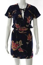 Yumi Kim Blue Pink Silk Sleeveless Vneck Drawstring Mini Sundress Size XSmall