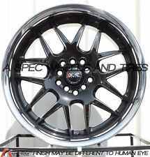 17X9 XXR 526 RIMS 5X100/114.3 WHEELS +35MM  BLACK W/SILVER STAINLESS LIP