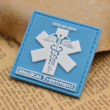 Medical Treatment Patch Badge Rescuer Gear Emblem PVC Square Shape Blue 1PC