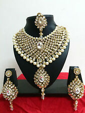 Indian Bollywood  Diamante Kundan Pearl Gold Tone Bridal Fashion Jewelry Set