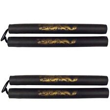 New Foam Nunchakus Nunchucks with Nylon Cord 2 pc Set Dragon pattern -BLACK 11""