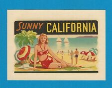 "VINTAGE ORIGINAL 1951 SOUVENIR ""SUNNY CALIFORNIA"" HOT ROD PINUP WATER DECAL ART"