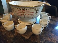Hall China Old Crow Kentucky Whisky 10 pc. Punch Bowl and Cups Set