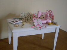 Dollshouse Miniature ~ VINTAGE STYLE ~ Sewing Table & Accessories